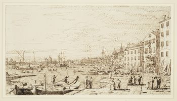 A drawing of the Bacino in Venice. On the right are the buildings of the Riva degli Schiavoni, with Campanile beyond. In the centre is the church of Santa Maria delle Salute. In the foreground are two moored boats, and groups of figures on the quayside. M