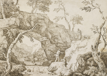 A pen and ink drawing of a rock-arch over a stream, with fishermen climbing rocks on the right,towards two women wholook down on them.This drawing is probably directly preparatory for one of Marco Ricci's etchings, as the careful handlin