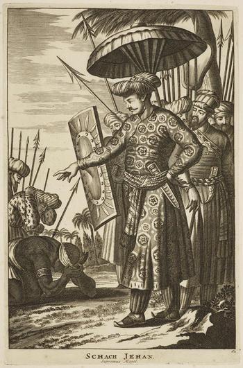 An engraving of Emperor Shah-Jahan (1592-1666). This is a plate from Principum et illustrium quorundam virorum, qui in Europa alibique terrarum, qua fama, qua eruditione celebres fuerunt, verae imagines, published by Lugduni Batavorum c.1700.