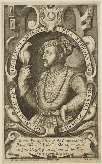 An engraving of the Emperor Jahangir, holding a hawk.