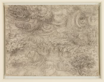The drawing is one of a series of eleven drawings by Leonardo of a mighty deluge, probably executed during his last years in France, and among the most enigmatic and visionary works of the entire Renaissance. Modest in size and densely worked in black cha