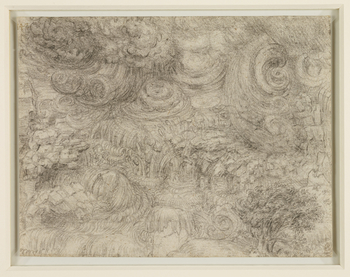 <p>The drawing is one of a series of eleven drawings by Leonardo of a mighty deluge, probably executed during his last years in France, and among the most enigmatic and visionary works of the entire Renaissance. Modest in size and densely worked in black