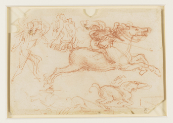 A sketch of a horse at full gallop, the cloak of its rider billowing in the wind; a galloping horse with its legs gathered beneath it; an outline of a horse kicking; and three studies of a foot soldier delivering a slashing blow with a sword. <br> <br>Leo