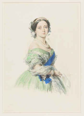 A three-quarter length watercolour portrait of Queen Victoria, facing front, wearing a green dress with the ribbon and star of the Garter, and holding a paper. Signed and dated at bottom right.   In June 1855 Queen Victoria recorded in