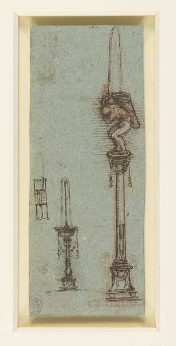 Two drawings of a fountain, designed as an Ionic column on a base. On the capital stands a naked man bent forward under the weight of a huge basket. Water is squirted from a pipe in his hands into the basket. This is one of two fragments probably cut from