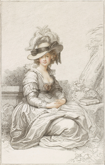 A portrait of Maria Cosway, full length, seated in a garden, with a closed book by her side. She wears a wide-brimmed plumed hat, and a low-cut gown. Her hands are folded in her lap. Inscribed below: R. Cosway R.A. Delin.t / F. Bartolo
