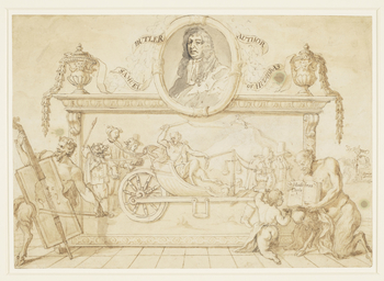 A preparatory drawing for the titlepage of Samuel Butler's Hudibras, illustrated by Hogarth in 1725. Butler himself is shown in an oval at the top of the composition. In the finished print, the figure playing a cello at left is replaced by the seated figu