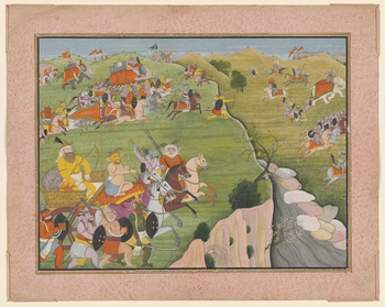 Illustration to Book 7 of the <em>Bhagavata Purana</em>, Chapter 4: having received his wish from Brahma, Hiranyakashipu conquers in all directions. On the left of the painting, the king of the demons leads his army across the earth into battle, the facin