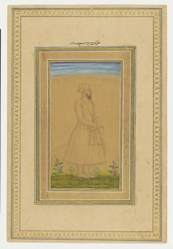 Folio 5<br>  <br>  <u>recto:<br>  <br>  </u>Portrait of Mu'azam Khan, <em>c</em>. 1650-60.<br>  <br>A <em>nim-qalam</em> portrait of Mu'azam Khan, the name given to Mir Muhammad Sa'yid (1591-1663), a general and governor of Bengal under 'Alamgir. Original