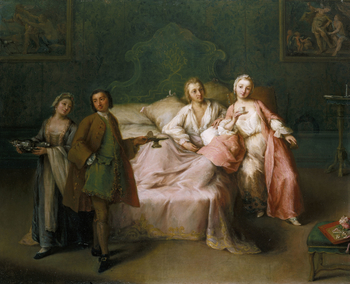 <em>The Married Couple's Breakfast</em>formed part of George III's purchase of Consul Joseph Smith's collection of paintings, drawings, prints and books and was recorded at St James's Palace in 1819. The painting, along with its pendant <em>Blind-Ma