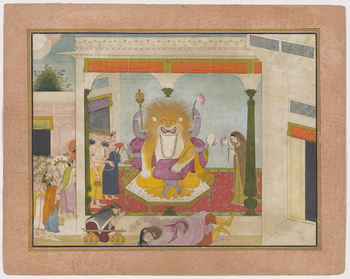 <p>Illustration to Book 7 of the <em>Bhagavata Purana</em>, Chapter 8: Hiranyakashipu lies dead on the threshold of his palace, his heart and intestines having been ripped out by Narasimha. The avatar sits at the centre of the painting on the dead king's