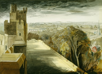 Queen Elizabeth's commission of watercolour views of Windsor Castle from John Piper during the war resulted in a virtuoso performance of topographical draughtsmanship allied with a powerful evocation of imminent threat. Whatever her feelings about the som