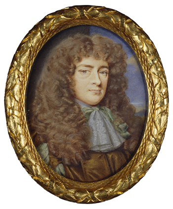 The sitter is thought to be Archibald Campbell, 9th Earl of Argyll (1629–85), Master of the King's Household in Scotland, an office that is the hereditary right of the Earls of Argyll. The style of the wig points to a date of c.1670, and although th