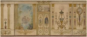 Watercolour design for the decoration of a wall, including doorway and overdoor, and decorative panels. Atlernative designs are shown to left and right. Girardy was among a number of French artists and craftsmen who Holland employed to work