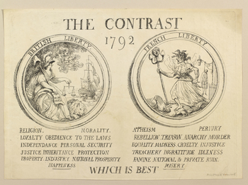 An uncoloured print of two roundels, one showing British Liberty, the other French Liberty. On the left Britannia is seated, holding scales in her left hand and the Magna Carta in her right. In the right hand roundel, French Liberty stands triumphant over