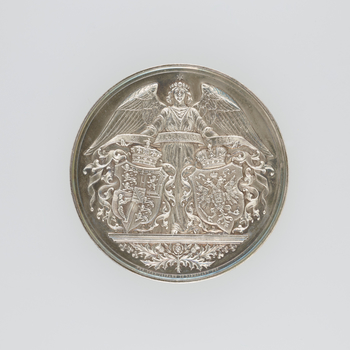 1 medal : silver Obverse: Conjoined heads of the Grand Duchess and the Duke right.  MARIE ALEXANDROWNA . ALFRED Reverse: Angel standing behind two shields and supporting a riband inscribed 23 JANUARY 1874
