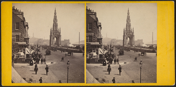 Stereogram of the Sir Walter Scott monument looking east with Calton Hill in the background. The Nelson Monument stands on the top of the hill. The monument stands on the right of the background as a neo-gothic canopy with the statue of Scott underneath.