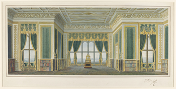 The furniture-makers Nicholas Morel and George Seddon went into partnership in 1826 to decorate George IV's new Private Apartments in Windsor Castle. The firm produced a series of designs showing the principal elevations of each room, with the intended