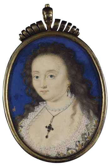 This signed miniature is one of the earliest examples of John Hoskins's work. It pre-dates his earliest surviving dated works (oil portraits of Sir Hamon Le Strange and Alice Le Strange of 1617) by several years. The low, rounded neckline of the sitter's