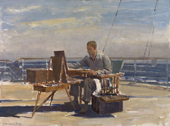 Prince Philip, Duke of Edinburgh, sits on a deckchair, facing left, painting at an easel on the deck of the royal yacht