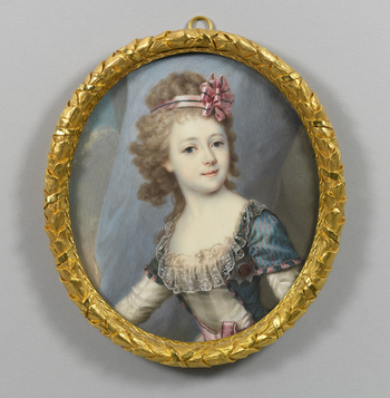 Half-length, facing half to the left, her head turned slightly to the right, wearing a dark blue coat with a narrow pink stripe over a white silk dress with a pink belt trimmed with lace at the bodice and with the star of the order of St Catherine