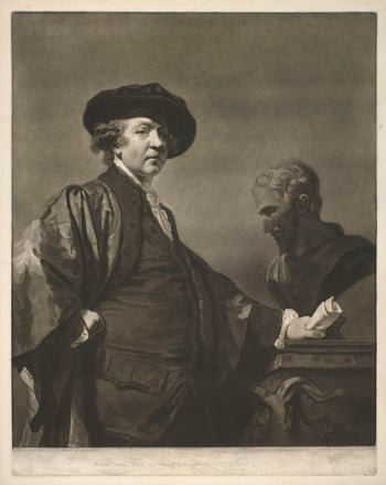 A mezzotint after a self-portrait of Sir Joshua Reynolds; three-quarter length, turned to the right. He rests his left hand on a table upon which stands a bust of Michelangelo. His right hand is on his hip. He wears the cap and gown of an a