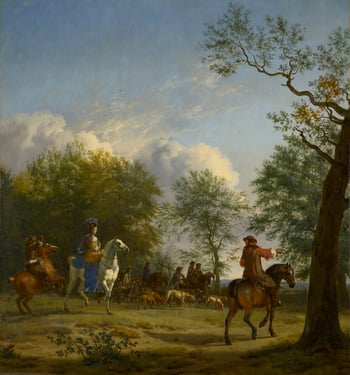 This painting of a hawking party by Adriaen van de Velde (1636-72) suggests the modern, elegant and somewhat affected gentlemen and ladies of Jacob Ochterveld and Eglon van der Neer. A splendid lady rides side-saddle, with plumed hat, golden dress and sky