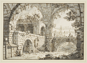 A drawing of an invented view, known as a capriccio. The drawing brings together some buildings from the Forum in Rome, including part of the Arco dei Pantani on the left hand side, and behind some of the Temple of Mars Ultor. The vaulting and fragments o