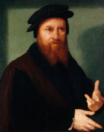This portrait forms one of a pair in the Royal Collection, however the images are not universally accepted as that of the artist, Joos van Cleve, and his second wife, Katlijne van Mispelteeren. This difficulty partly stems from the fact that they were ide