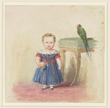 A watercolour showing Queen Victoria's eldest son Albert Edward, Prince of Wales as a small child. He is shown full-length, standing and facing forward with a brightly coloured ball in his hand. He is wearing a blue and red nineteenth-century-style child'
