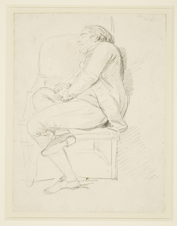 A drawing of Francesco Bartolozzi asleep in a chair. He is turned to the left, with one leg folded beneath the other, and his hands clasped together.A similarly charming drawing of Giovanni Battista Cipriani (RCIN 913295) was no d