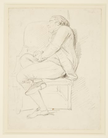 A drawing of&nbsp;Francesco Bartolozzi asleep in a chair. He is turned to the left, with one leg folded beneath the other, and his hands clasped together.<br /><br />A&nbsp;similarly&nbsp;charming drawing of&nbsp;Giovanni Battista Cipriani (RCIN 913295) w