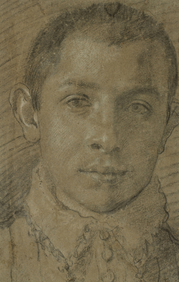 A portrait drawing, probably of Agostino Carracci; full face with close-cropped hair. He wears a fringed collar. The author of this drawing and the identification of the sitter have been just as controversial as those of the presumed self-portrait of Anni