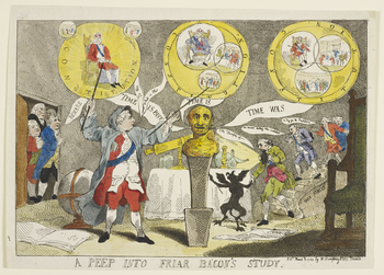A hand-coloured print of George III dressed as the friar Roger Bacon. In the centre is the brazen head constructed by Bacon to predict the means of protecting England from invasion. The head is commentating on the relationship between the Crown and Parlia