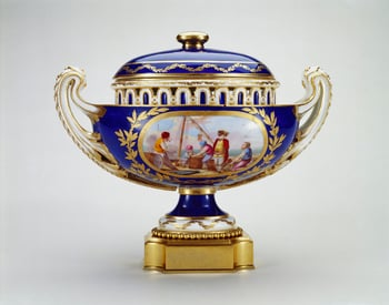 This vase differs only in minor details from another in the Royal Collection. So, whilst not considered a pair, interesting comparisons illustrate the manufactory's adept use of templates for gilded and painted decoration and minor modifications of shap