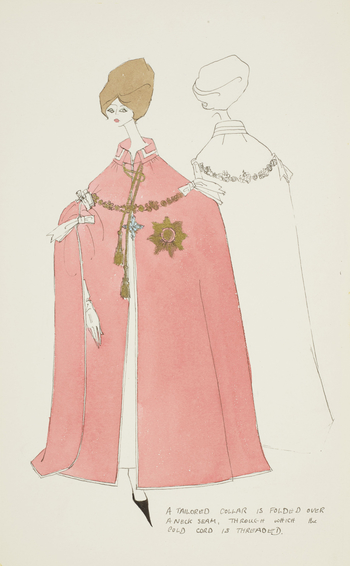 Stylised fashion drawing showing front and back views of a long mantle, pink with gold and blue detailing, thrown over a female figure.  Letters to lower-right.
