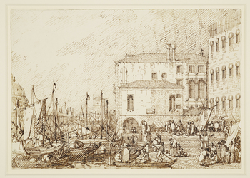 A drawing of the Fontegheto della Farina in Venice. On the far right is the west end of the Granai, and the bridge over the Rio della Luna. At centre right is the Fontegheto della Farina, with the Palazzo Valaresso directly behind. On the far left is part