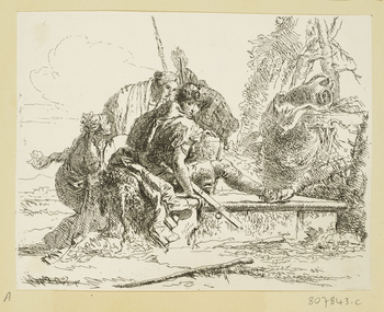An etching of a young soldier seated on a tomb. Inscribed at lower right on the tomb: Tiepolo.<br /><br />Giovanni Battista Tiepolo was one of the most celebrated painters of eighteenth-century Italy. He began making prints in the 1730s, and his