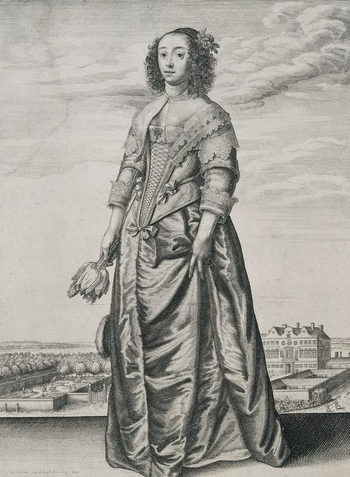 An etching of a young woman, standing half left, in an ample silk dress with a laced corsage, deep lace-fringed collar, and lace on the shoulders and the turned-up cuffs. Her dark curls fall to her shoulder, with a rose above her left ear; her right hand