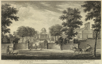 An etching of the house of the Earl of Burlington at Chiswick, seen from the road. Lettered below in English and French with the title and publication line 'Sold by T. Bowles in St Paul's Churchyard, John Bowles & Son, at the Black Horse in Cornh