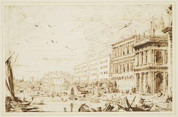 A drawing of a view of the Molo and surrounding area in Venice. From right to left the following features can be seen: the column of San Teodoro, the Libreria, the Zecca, the Ponte della Pescaria, the Granai di Terranova, the Fontegheto della Farina, and
