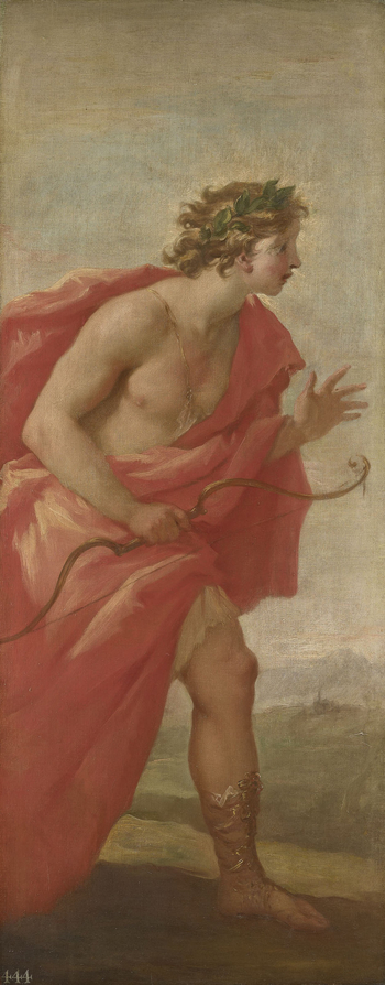 Apollo, the sun god, stands in profile in a river landscape. He wears a laurel crown with a halo and a red cloak and holds a bow in his right hand. His left hand is raised in a gesture of surprise; he is probably witnessing the metamorphosis of the nymph