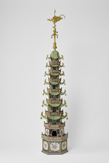 The pagoda with nine tiers, composed of seven hexagonal roofs of diminishing size with projecting curved roofs, the topmost being a high dome to which has been attached a tall, gilt-bronze finial passing through a gourd-shaped vase, a hexagonal canopy wit