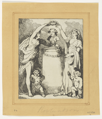 An uncoloured print of a bust of the actor, David Garrick that is crowned with a laurel wreath by the figures of Comedy and Tragedy that flank the bust. Putti stand at the feet of the muses, one laughing whilst the other points a dagger at its stomach. Pr