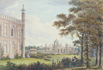 A watercolour of the Royal Pavilion at Brighton, with a flap showing the building before and after Humphrey Repton's proposed alterations. With flap closed, the existing classical facade can be seen; with flap open, a Mughal palace design with m