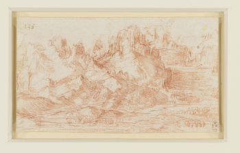 A drawing of a landscape in which mountains rise from a plain, grassy and wooded below, rocky and precipitous above. Through the plain on the right runs a river. Melzi's 138. Verso blank. No watermark.