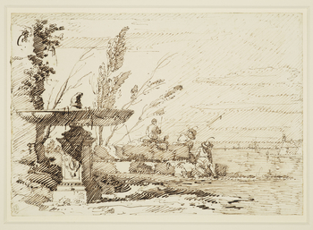 A drawing of an invented view, known as a capriccio. On the left is a large fountain, the pedestal of which is decorated with Canaletto's arms - the chevron. On the right is a lagoon, with several figures are shown sitting on its banks. 