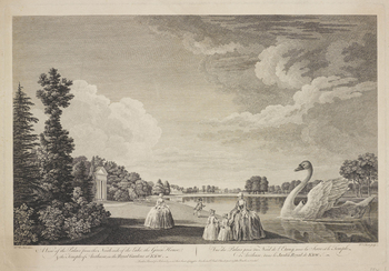 An etching of Kew Palace from the north side of the lake, with a large swan boat. Lettered in English and French, with the publication line 'Published by Robert Sayer in Fleet Street, Carington Bowles in St Paul's Churchyard and John Bowles in Cornhi