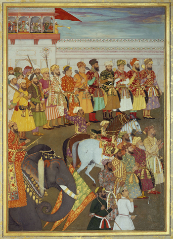 f.51a: half of a double-page illustration depicting Shah-Jahan receiving his three eldest sons & Asaf Khan  Shah-Jahan succeeded to the throne on the death of his father the Emperor Jahangir, in November 1627. This painting accompanies the depiction of o