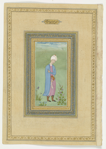 recto:   Portrait of Abd al-Mumin Khan, c.1610-20.  Abd al-Mumin Khan (d.1598) was the only son of Abdullah Khan (see folio 31 RCIN 1005038.ae). He rebelled against his father and eventually took the Uzbek throne from him in 1598 but was assassinated the
